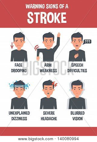 Stroke vector infographic. Stroke symptoms. Infographic elements.