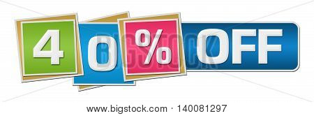 Forty percent off concept image with text over colorful background.