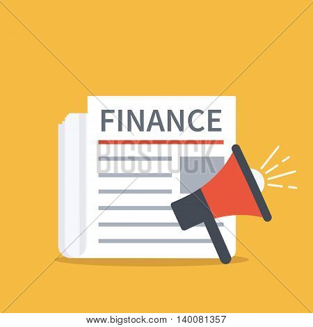 Finance newspaper concept banner. Vector flat illustration.