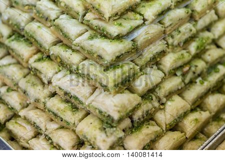 Baklava with pistachio on sale in market