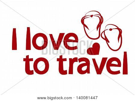 The illustration on the theme of love for travel with the elements of the text