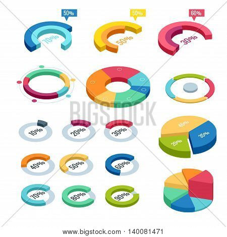 Chart and graphic isometric, business diagram data finance, graph report, information data statistic, infographic analysis tools illustration
