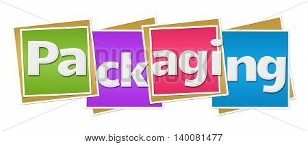 Packaging text written over colorful squares background.