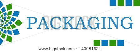 Packaging text written over green blue background.