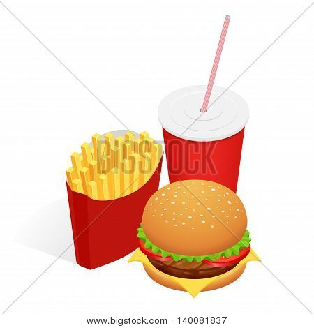 Vector illustration of isometric food burger, French fries and cola. Fast food concept. Tasty snack
