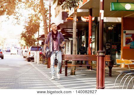 Male tourist in city