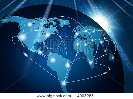 Global network connection background. Network communication technology concept.
