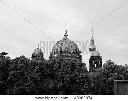 Berliner Dom In Berlin In Black And White