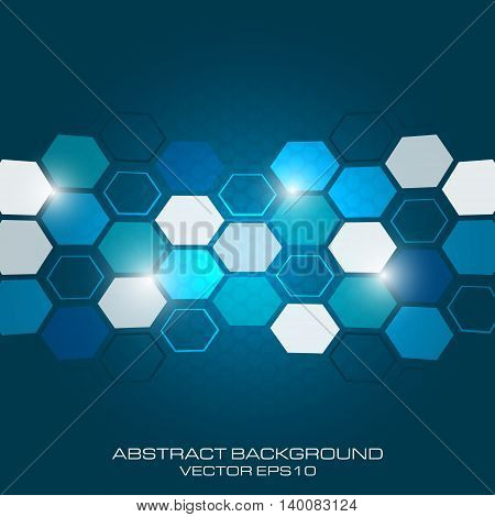 Abstract business vector background with light effect and hexagon.