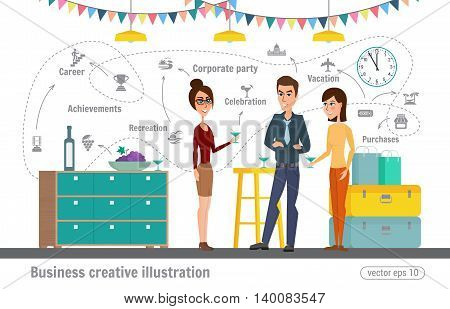 Business Creative Illustration Women And Man. Corporate Holiday