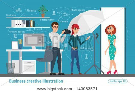 Business Creative Illustration. Women And Man People