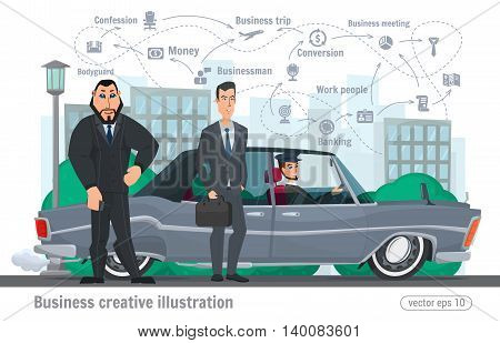 Business Creative Illustration. Businessman Character Office Worker Professional
