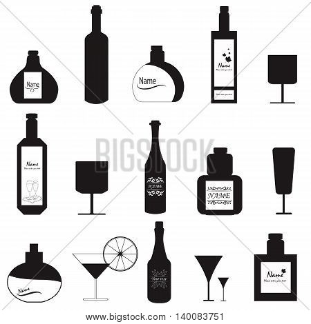 Set glasses and bottles in sketch style