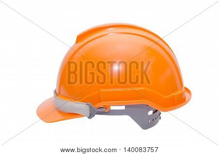 Orange color worker's helmet isolated over white background