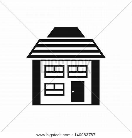 Two-storey house with sloping roof icon in simple style isolated on white background. Structure symbol