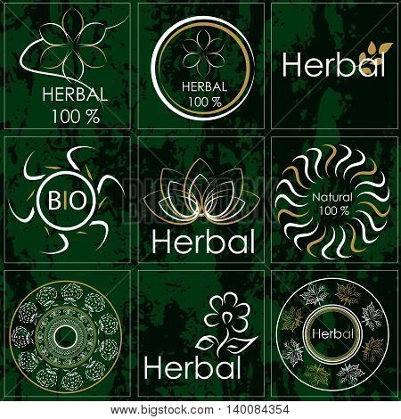 Set of stickers for natural products made from herbs medicines and pharmacy fees from herbs. It can be used as a logo on other products made from herbs or natural products
