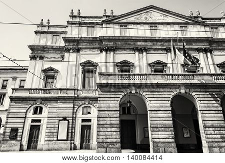 La Scala is an opera house in Milan Italy. Cultural heritage. Travel destination. Black and white photo. Architectural scene.