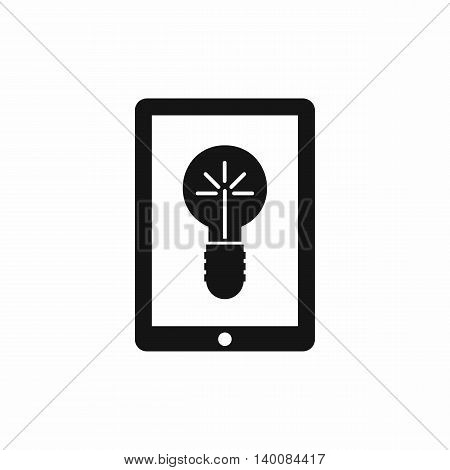 Idea lamp on gadget screen icon in simple style isolated on white background