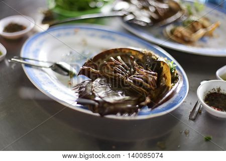 Roasted horse shoe crap in isolated on white background,