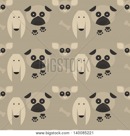 flat dog characters set, cartoon pet animal collection chihuahua, pug and afgan greyhound seamless