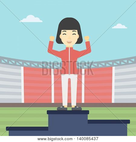 An asian young sportswoman celebrating on the winners podium. Sportswoman standing on the first place on the winners podium with raised hands. Vector flat design illustration. Square layout.