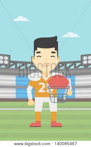 An asian young rugby player with the beard holding ball and helmet in hands. Male rugby player in uniform standing on rugby stadium. Vector flat design illustration. Vertical layout.