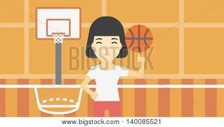 An asian sportswoman spinning basketball ball on her finger. Young professional basketball player standing on the basketball court. Vector flat design illustration. Horizontal layout.