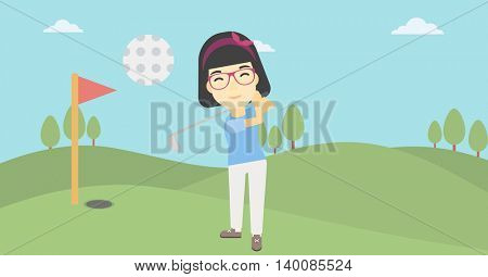 An asian female golfer hitting the ball. Professional female golfer on golf course. Young woman playing golf. Vector flat design illustration. Horizontal layout.