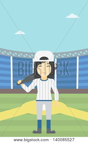 An asian young female baseball player standing on a baseball stadium. Female professional baseball player holding a bat on baseball field. Vector flat design illustration. Vertical layout.