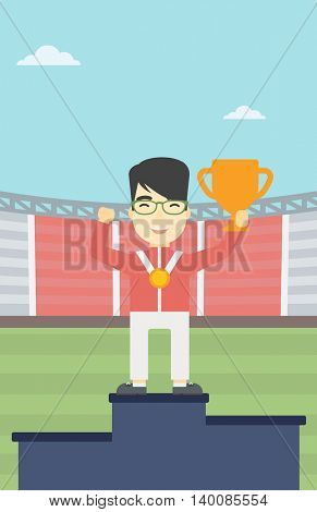 An asian sportsman celebrating on the winners podium. Young man with gold medal and trophy cup standing on the winners podium. Winner concept. Vector flat design illustration. Vertical layout.
