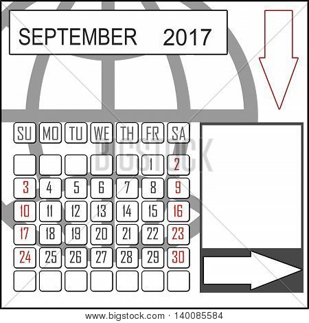 Abstract design 2017 calendar with note space for september month