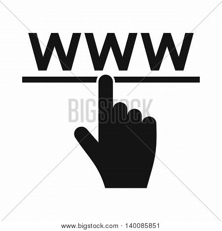 Hand cursor and website icon in simple style isolated on white background