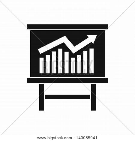 Growing chart on presentation board icon in simple style isolated on white background