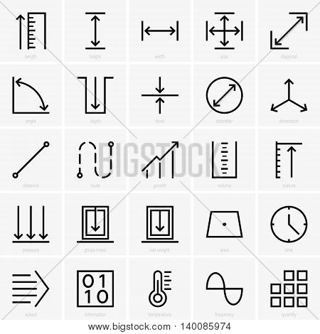 Set of many different quantities icons on light grey