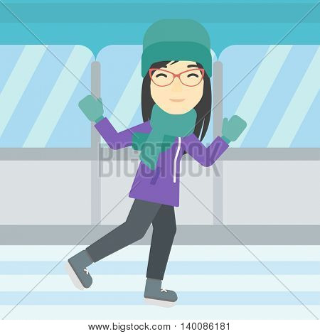 An asian young woman ice skating on indoor ice skating rink. Sport and leisure concept. Vector flat design illustration. Square layout.