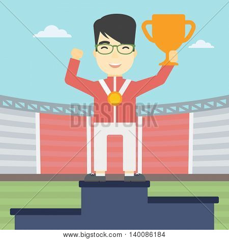 An asian sportsman celebrating on the winners podium. Young man with gold medal and trophy cup standing on the winners podium. Winner concept. Vector flat design illustration. Square layout.