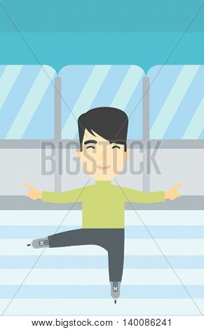 An asian figure skater with the beard performing on indoor ice skating rink. Young hipster male figure skater dancing. Vector flat design illustration. Vertical layout.