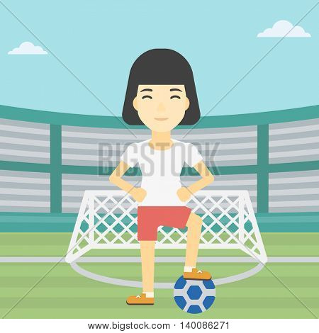 An asian sportswoman standing with football ball on the football stadium. Young professional football player with a soccer ball on the field. Vector flat design illustration. Square layout.