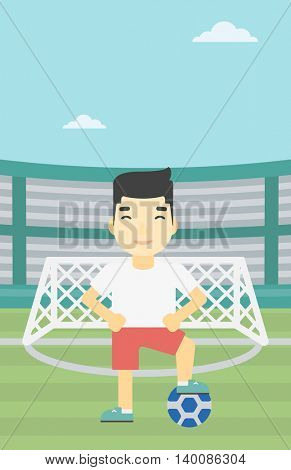 An asian sportsman standing with football ball on the football stadium. Young professional football player with a soccer ball on the field. Vector flat design illustration. Vertical layout.