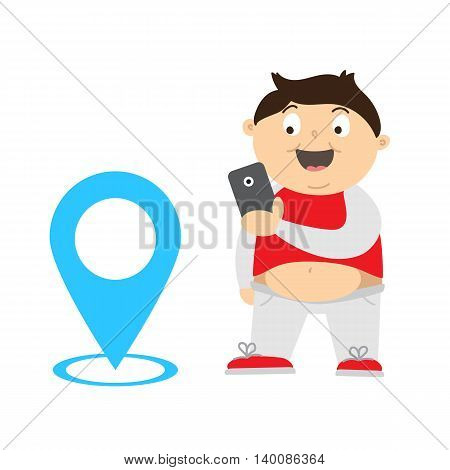 Cartoon illustration of an overweight kid playing video game on his smartphone for lose weight. Fat boy finding and catch monsters with gps. m anaging with children obesity using video games Concept.