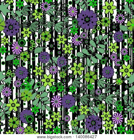 Floral seamless pattern with colorful flowers texture background
