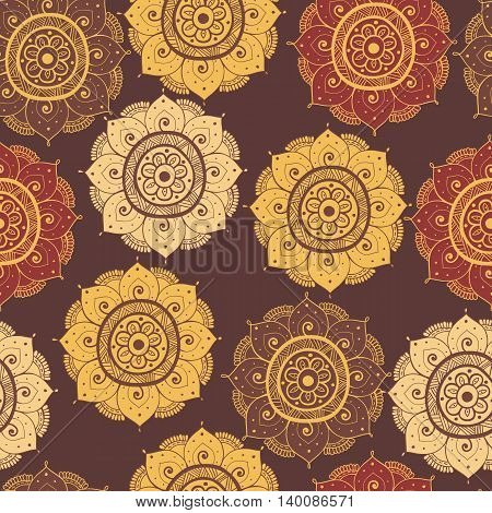 Seamless abstract hand-drawn oriental doddle pattern brown color. Seamless pattern can be used for pattern fills web page backgroundsurface textures. floral background