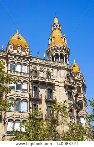BARCELONA SPAIN - JULY 5 2016: Cases Antoni Rocamora. The building was built by the Bassegoda brothers in 1917 in Passeig de Gracia Barcelona Spain.