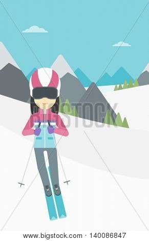 An asian woman skiing on the background of snow capped mountain. Skier skiing downhill in mountains. Female skier on downhill slope. Vector flat design illustration. Vertical layout.