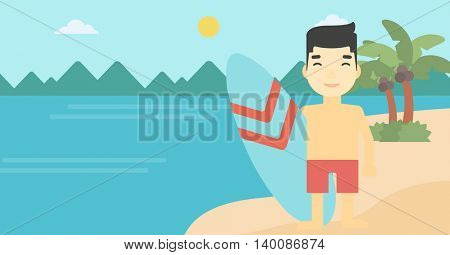 An asian sportsman standing with a surfboard on the beach. Professional surfer with a surf board at the beach. Vector flat design illustration. Horizontal layout.