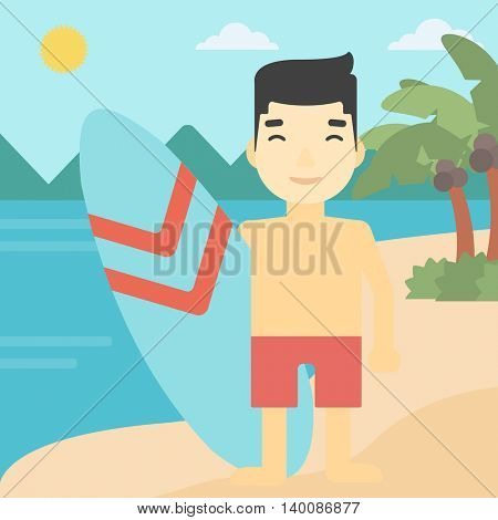 An asian sportsman standing with a surfboard on the beach. Professional surfer with a surf board at the beach. Vector flat design illustration. Square layout.
