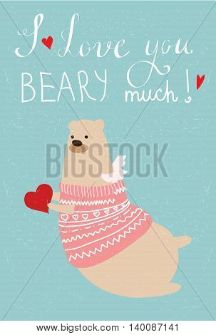 Valentine's greeting cards with cute bear,cats, hearts and floral elements.