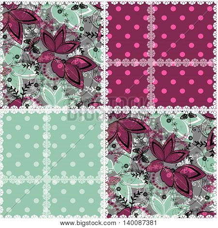 Quilted boho seamless pattern patchwork rustic style. Background texture wallpaper wrapping in retro design