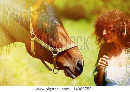 girl in white dress talking to a brown horse on meadow