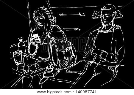 Man And Woman At A Table In The Coupe Wagon
